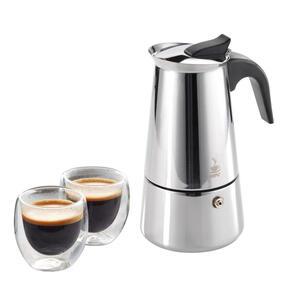 Espressokocher mit 2 Gläsern