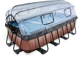 EXIT - Pool Holzoptik mit Abdeckung - Rechteckig - 400 x 200 x 100 cm