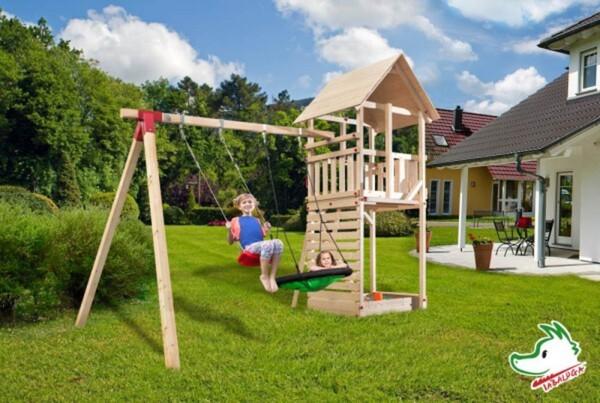 Weka Spielturm Tabaluga mit Schaukel, Sandkasten, Schaukelbrett/Netz