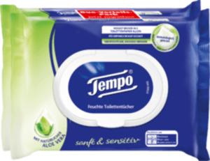 Tempo Feuchtes Toilettenpapier sanft & sensitiv Aloe Vera (2 x 42 Stück)