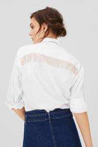 C&A Bluse mit Fransen-Regular Fit-Kent, Weiß, Größe: 42