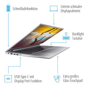 "MEDION AKOYA® S17403, Intel® Core™ i5-10210U, Windows 10 Home, 43,9 cm (17,3"") FHD Display, 256 GB SSD, 8 GB RAM, Schlankes Design, Schnellladefunktion, Notebook"