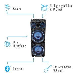 MEDION LIFE® X64050, Bluetooth® Partylautsprecher mit Drum Pads, Mikrofon, LED Lichteffekte, kraftvolle Bässe, Gitarreneingang (B-Ware)