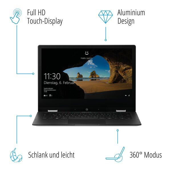 MEDION AKOYA® E3221, Intel® Pentium® Silver N5000, Windows10HomeimSModus, 33,8 cm (13,3'') FHD Touch-Display, 64 GB Flash, 4 GB RAM, Convertible (B-Ware)