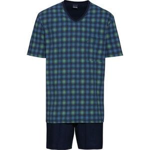 Ammann Schlafanzug, V-Ausschnitt, Brusttasche, Print, für Herren
