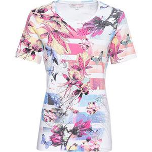 Adagio Shirt, Kurzarm, Print, Rundhals, Strass, für Damen