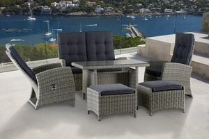 KONIFERA Gartenmöbelset »Monaco«, 12-tlg., 2er Sofa, 2 Sessel, 2 Hocker, Tisch, Polyrattan