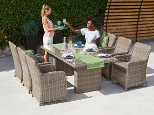 MERXX Gartenmöbelset »Kuba«, 13-tlg., 6 Sessel, Tisch 180x90 cm, Kunststoffgeflecht