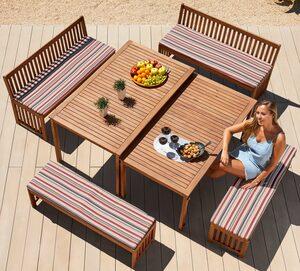 MERXX Gartenmöbelset »Hawaii«, 10-tlg., 4 Bänke, 2 Tische, Akazienholz, braun