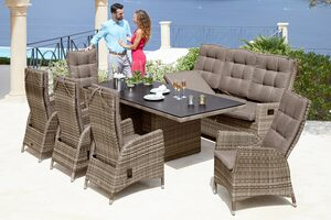 PLOSS Diningset »Tokio Deluxe«, 16-tlg., 5 Sessel, 3-Sitzer, Tisch 100x220 cm, Polyrattan