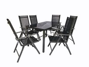 VCM Alu Sitzgruppe 140x80 Schwarzglas Gartenmöbel Gartengarnitur Tisch Stuhl