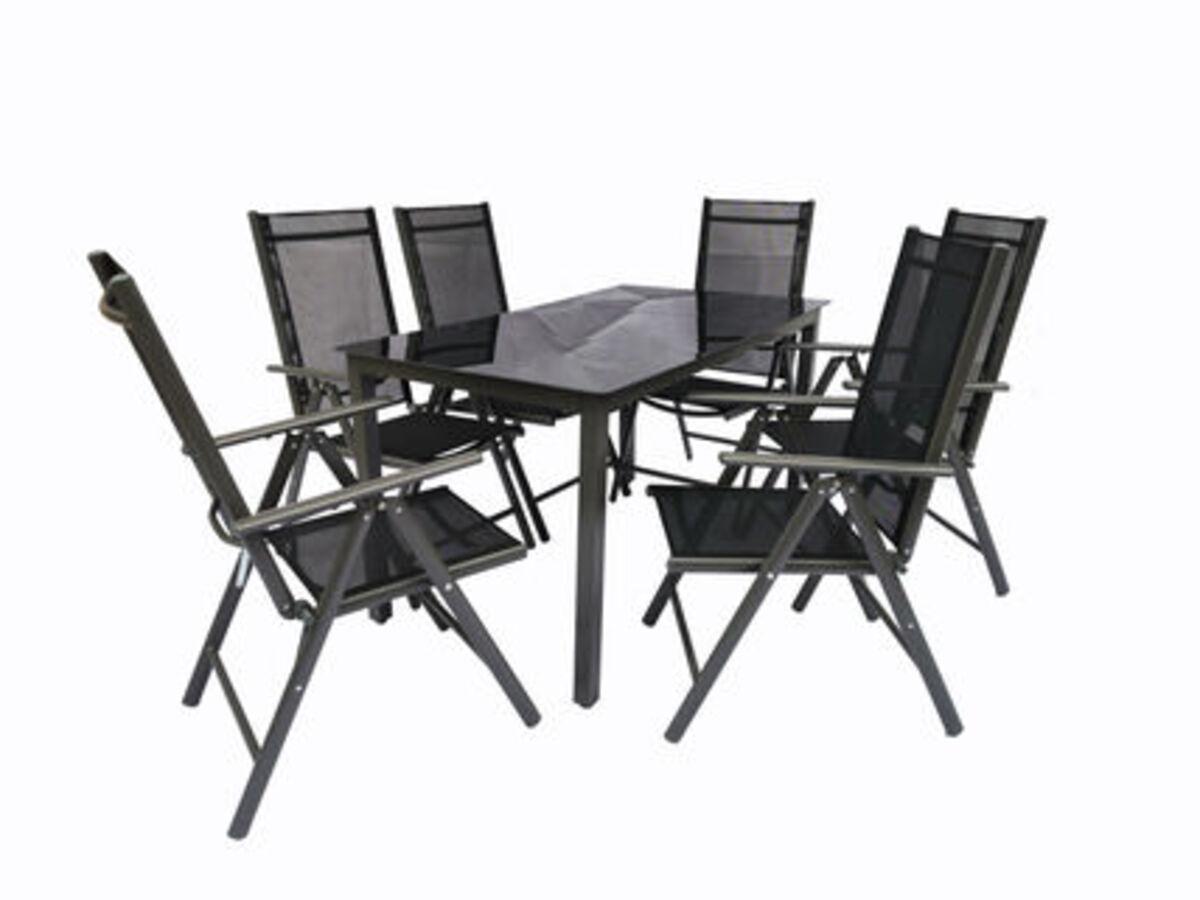 Bild 1 von VCM Alu Sitzgruppe 140x80 Schwarzglas Gartenmöbel Gartengarnitur Tisch Stuhl