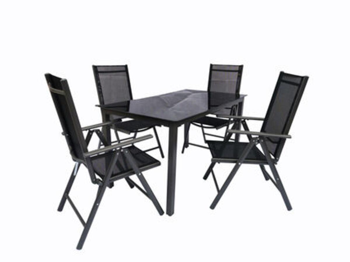 Bild 2 von VCM Alu Sitzgruppe 140x80 Schwarzglas Gartenmöbel Gartengarnitur Tisch Stuhl