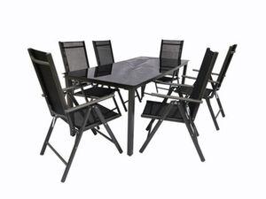VCM Alu Sitzgruppe 190x80 Schwarzglas Gartenmöbel Gartengarnitur Tisch Stuhl