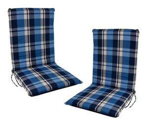 DEGAMO Auflage CAIRO für Stuhl, blau-kariert, 2 Stück