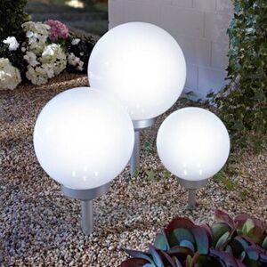Pureday Solarleuchten-Set, 3-tlg. 'Ball', Weiß, Kunststoff