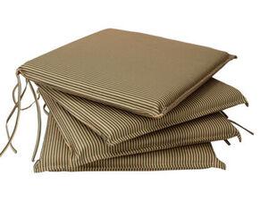 DEGAMO Auflage MALLAWI für Stuhl, beige mit grünen Streifen, 4 Stück