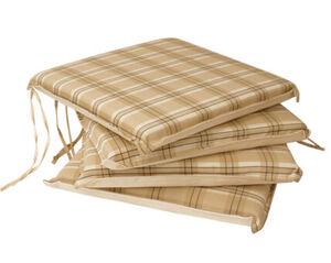 DEGAMO Auflage MALLAWI für Stuhl, beige kariert, 4 Stück