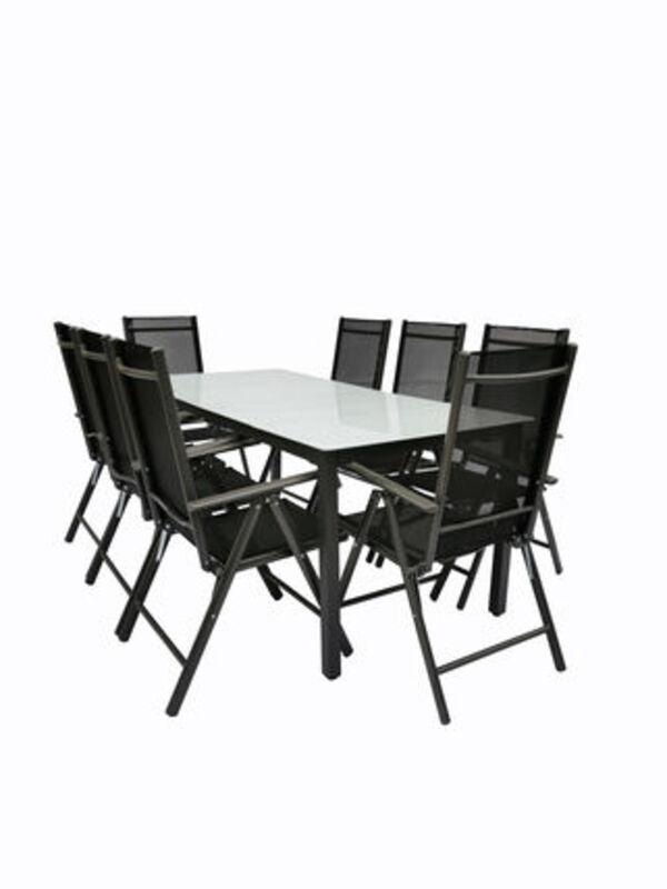 VCM Alu Sitzgruppe 190x80 Mattglas Gartenmöbel Gartengarnitur Tisch Stuhl Essgruppe