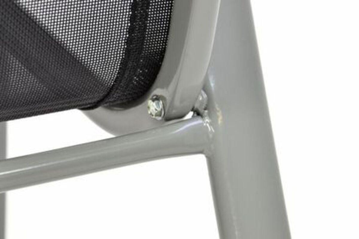 Bild 3 von VCM Gartenstuhl Stapelstuhl Stapelsessel Hochlehner Rahmen grau Textilene schwarz