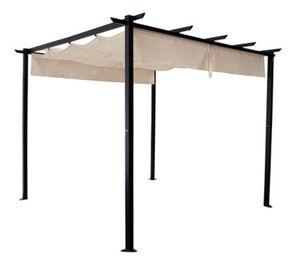DEGAMO Pavillon ANTIBES 3x3 Meter, Stahl schwarz, Schiebeplane écru