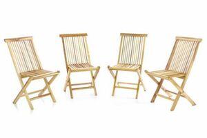 VCM 4er Set Gartenstuhl Teak Holz unbehandelt klappbar Stühle Holzstuhl