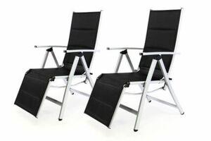 VCM 2er Set Alu Liegestuhl Klappstuhl gepolstert Sonnenliege Camping schwarz
