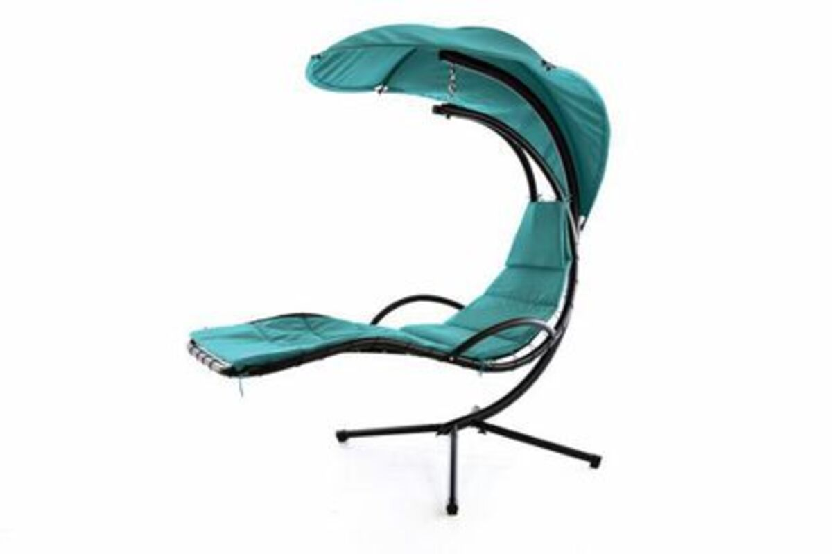 Bild 1 von VCM Luxus Schwebeliege blau Schwingliege Hängeliege Relax-Sonnenliege + Sonnenschutz