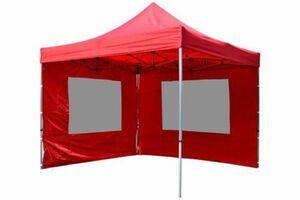 VCM PROFI Faltpavillon Partyzelt 3x3 m rot mit 2 Seitenteilen wasserdichtes Dach