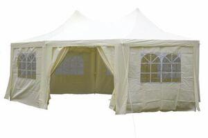 VCM Festzelt Pavillon Partyzelt Feier-Zelt 6x4,4x3,3 m creme wasserdicht hochwertig