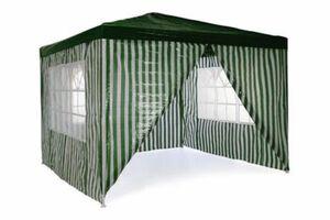 VCM Pavillon Partyzelt 3x3m grün weiß wasserdicht 4 Seitenteile Gartenzelt Eventzelt