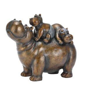 Pureday Deko-Figur 'Nilpferd Chilly Hippos', Kupferfarben