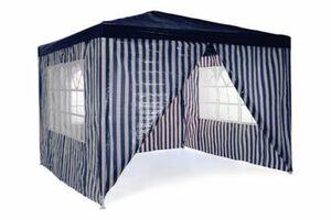 VCM Pavillon Partyzelt 3x3m blau weiß wasserdicht 4 Seitenteile Gartenzelt Eventzelt