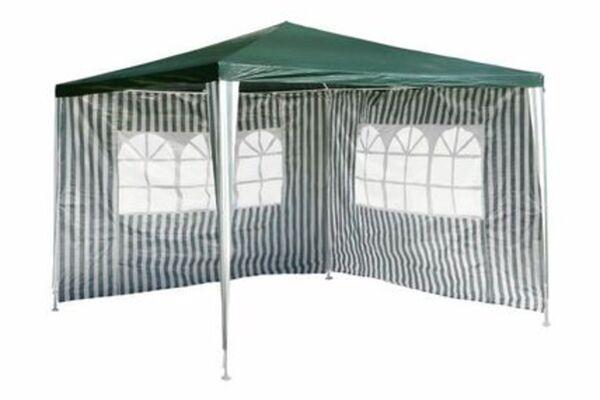 VCM Pavillon 3x3 m in grün weiß PE Plane 2 Seitenteile Partyzelt Gartenzelt Zelt