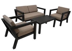 DEGAMO Lounge Set GOA, Aluminium grau, Polster taupefaben