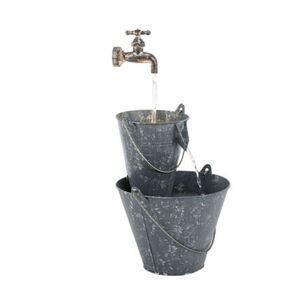 Pureday Gartenbrunnen 'Zinkeimer', Grau, verzinktes Blech Kunststoff