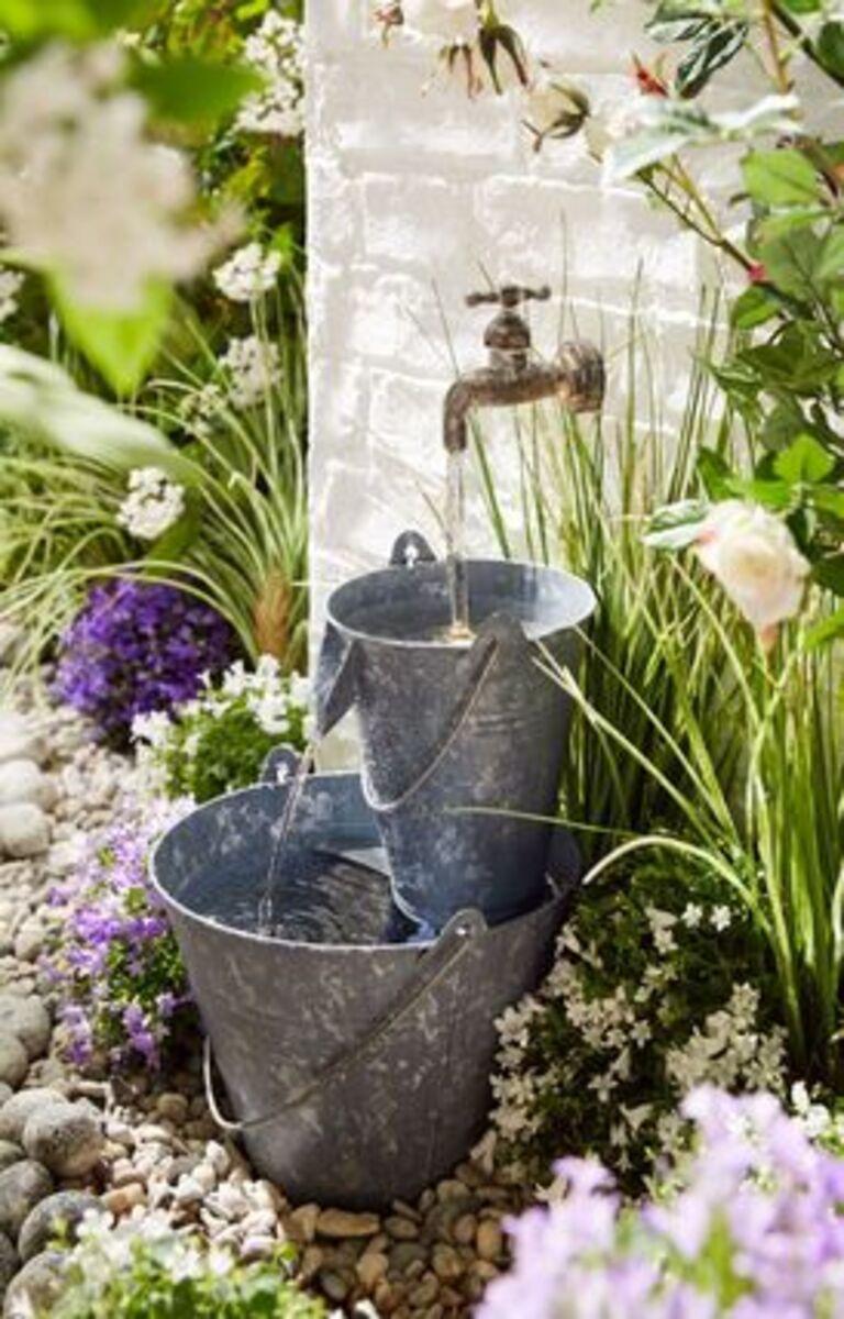 Bild 4 von Pureday Gartenbrunnen 'Zinkeimer', Grau, verzinktes Blech Kunststoff