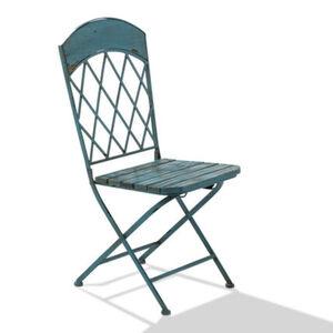 Pureday Outdoorstuhl-Set, 2-tlg. 'Vintage', Blau, Metall, Holz