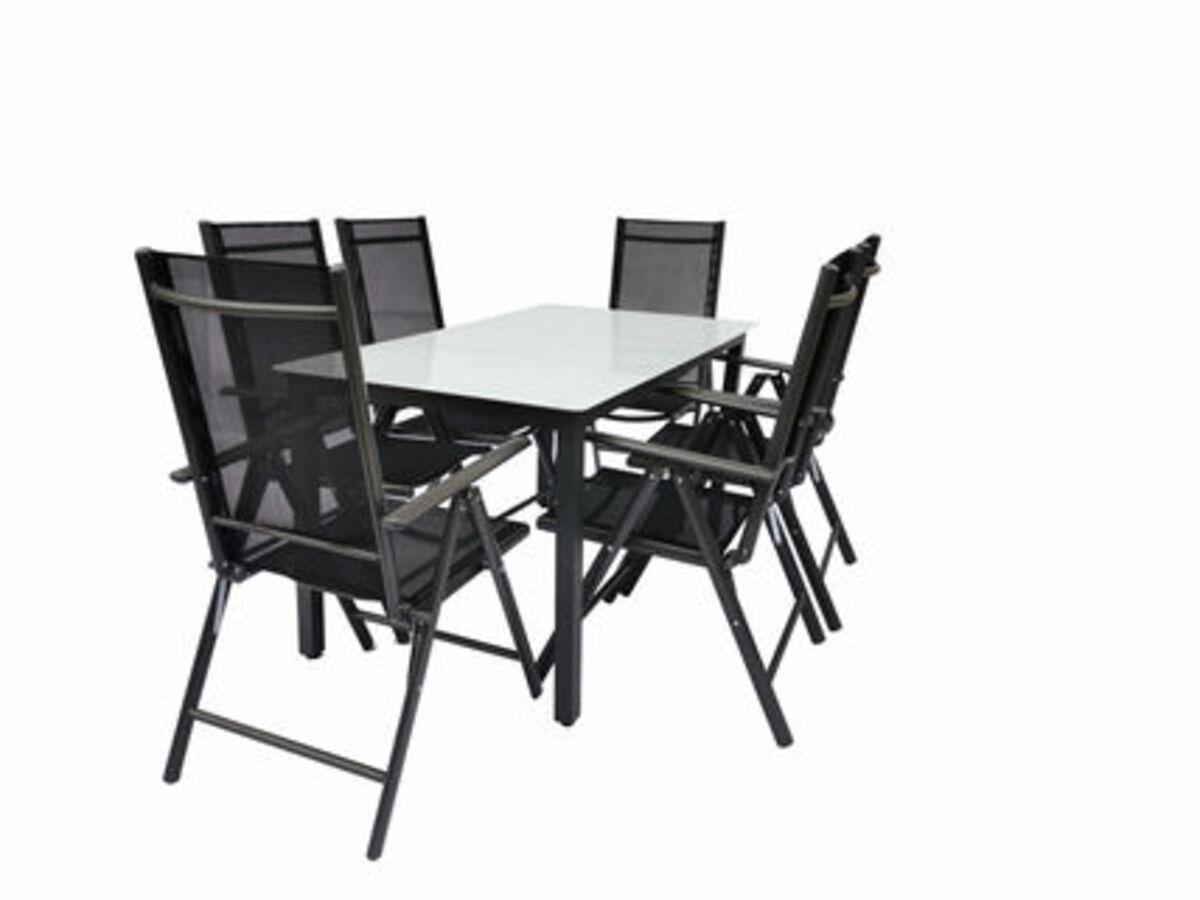 Bild 1 von VCM Alu Sitzgruppe 140x80 Mattglas Gartenmöbel Gartengarnitur Tisch Stuhl Essgruppe