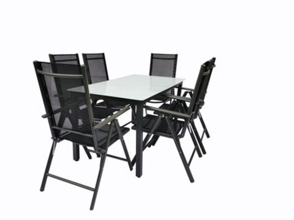 VCM Alu Sitzgruppe 140x80 Mattglas Gartenmöbel Gartengarnitur Tisch Stuhl Essgruppe