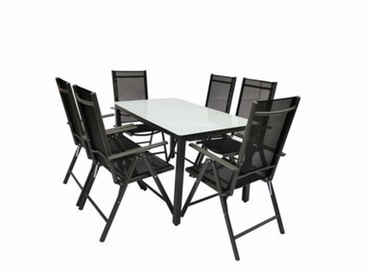 Bild 2 von VCM Alu Sitzgruppe 140x80 Mattglas Gartenmöbel Gartengarnitur Tisch Stuhl Essgruppe