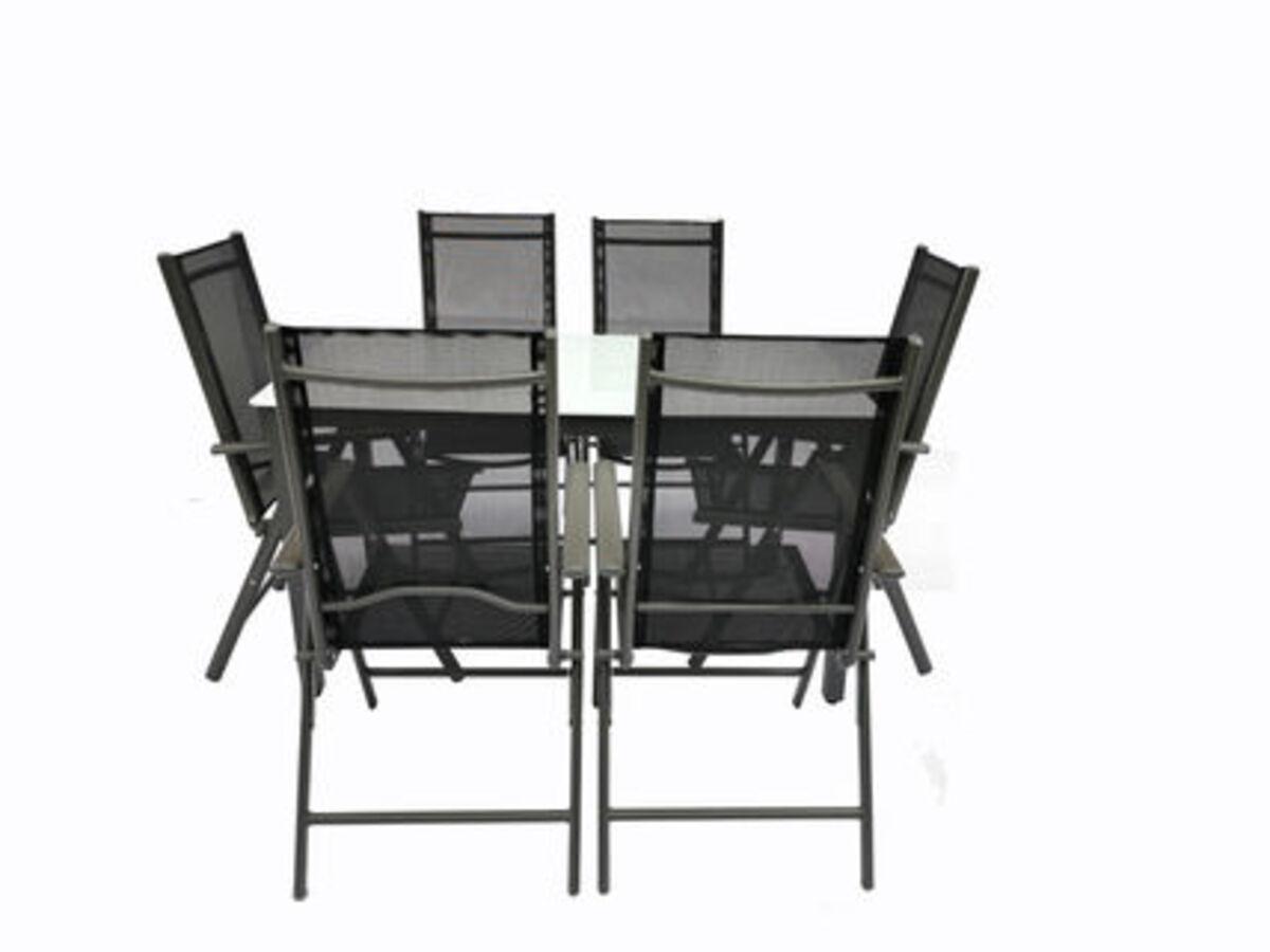Bild 3 von VCM Alu Sitzgruppe 140x80 Mattglas Gartenmöbel Gartengarnitur Tisch Stuhl Essgruppe