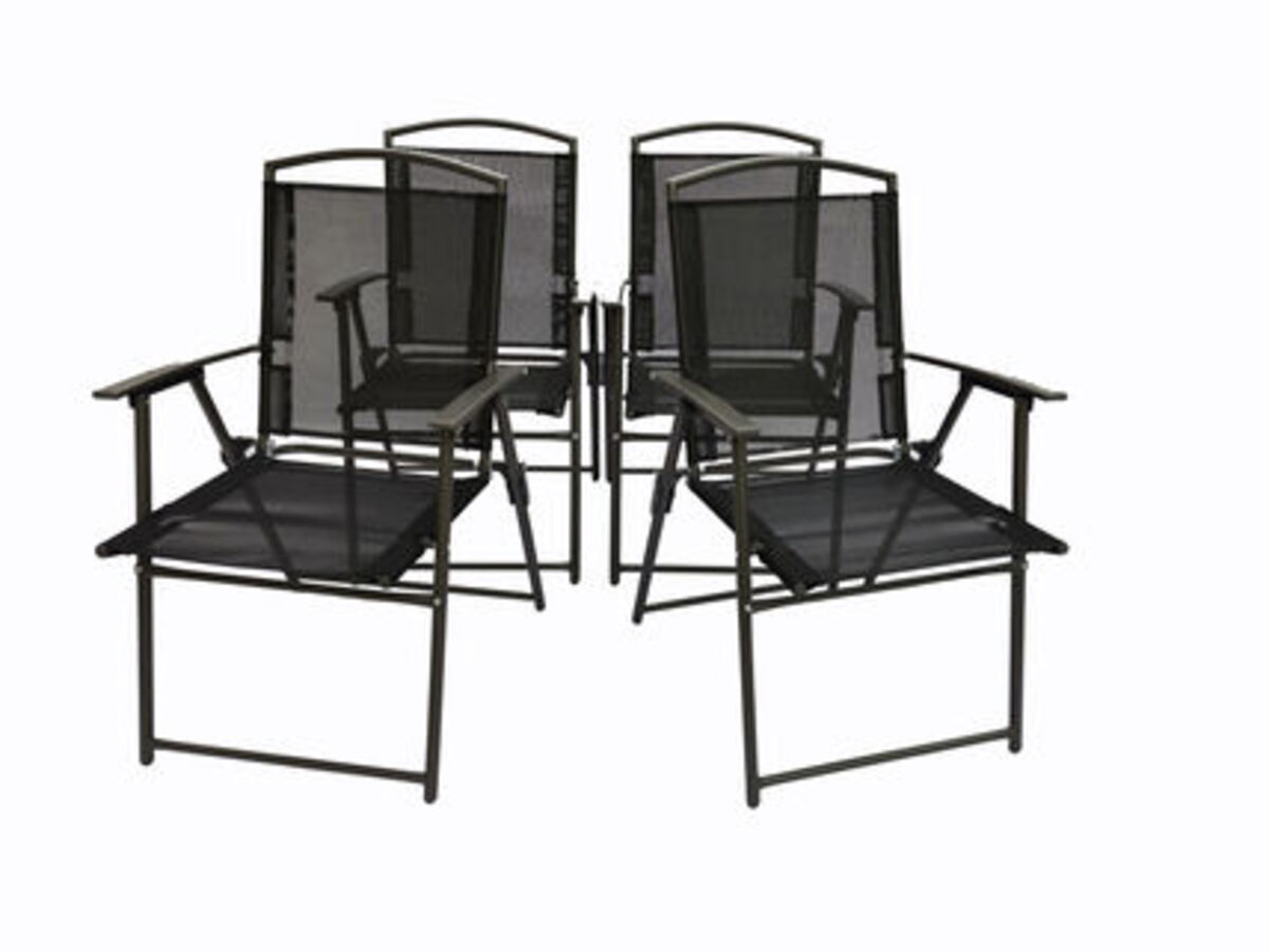Bild 1 von VCM Set Gartenstuhl Stühle Stuhl Metall Textilene klappbar verstellbar, 4 Stühle