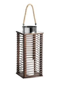 Gartenfreude Laterne Rattan Laterne mit LED Kerze, Braun, 17 x 17 x 39 cm