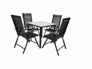 VCM Alu Sitzgruppe 80x80 Mattglas Gartenmöbel Gartengarnitur Tisch Stuhl Essgruppe