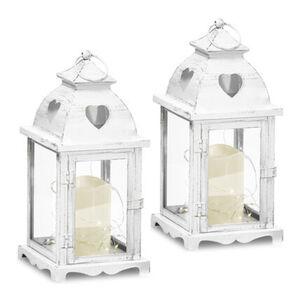 Gartenfreude Laterne Metall Laterne 2er-Set mit LED Kerze, mit Herz-Ausschnitt, Weiß mit