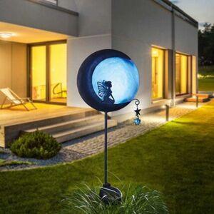 Pureday Solarleuchte 'Elfe am Mond', Schwarz/Blau, Glas, Metall, Kunststoff