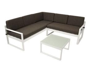 DEGAMO Lounge - Set ARESE, Aluminium weiss, Polster dunkelgrau