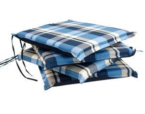 DEGAMO Auflage MALLAWI für Stuhl, blau kariert, 4 Stück
