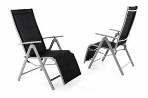 VCM 2er Set Gartenliege Sonnenliege Liegestuhl Relaxliege Garten schwarz grau